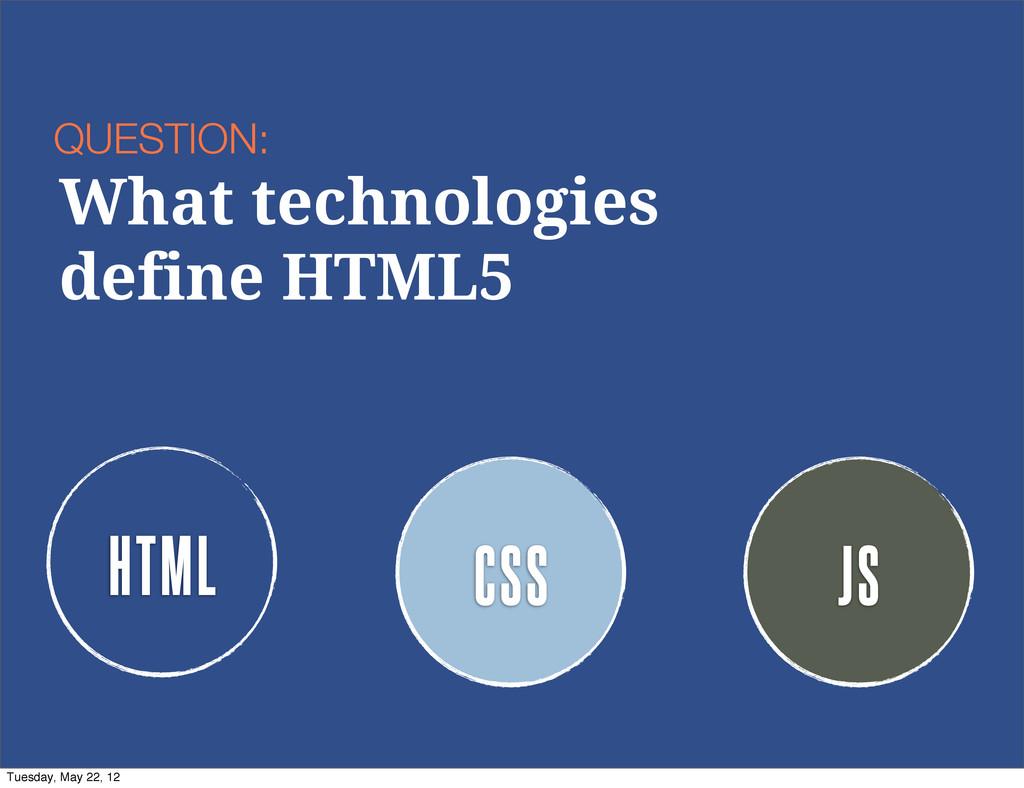 HTML CSS JS QUESTION: What technologies define ...