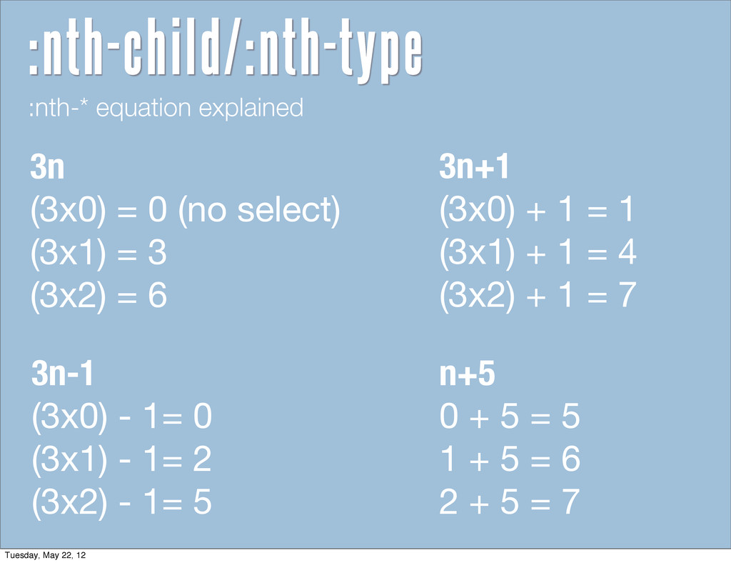 :nth-* equation explained 3n (3x0) = 0 (no sele...