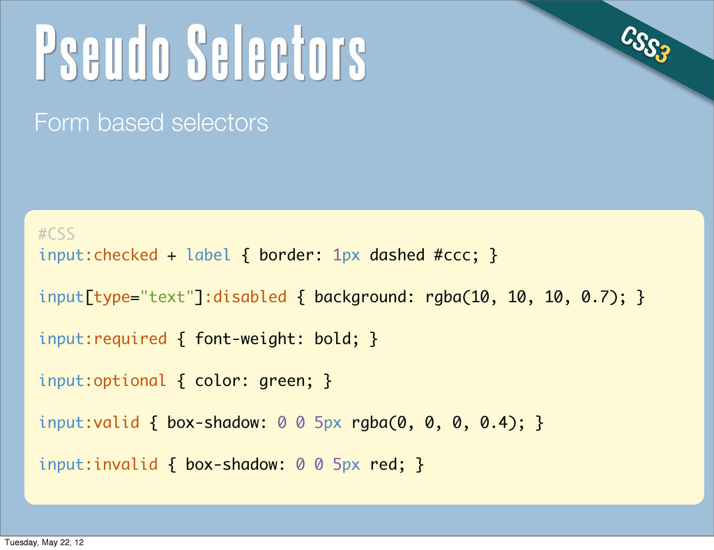 #CSS input:checked + label { border: 1px dashed...