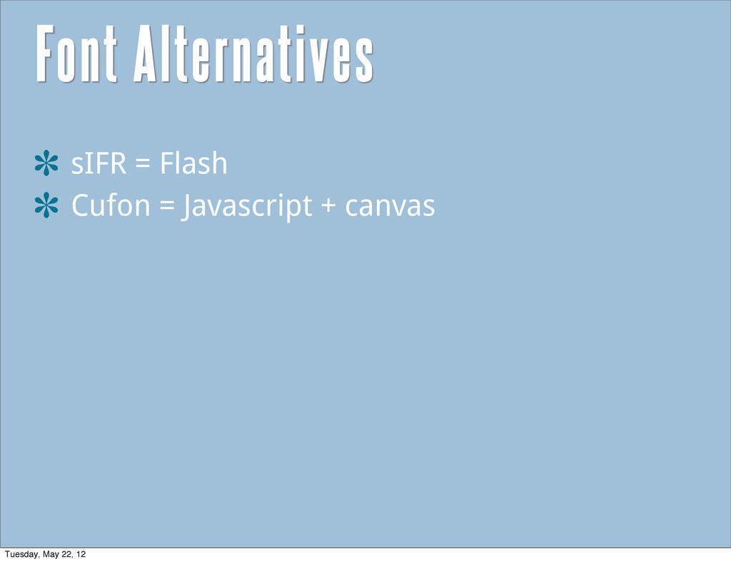 Font Alternatives sIFR = Flash Cufon = Javascri...