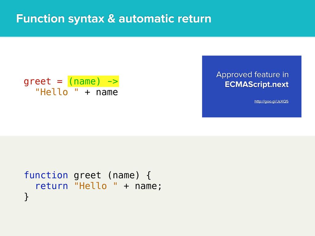 "function greet (name) { return ""Hello "" + name;..."