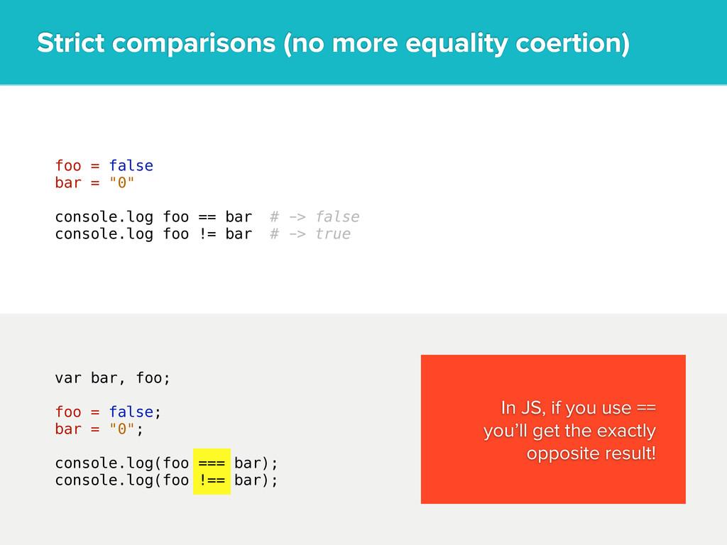 "foo = false bar = ""0"" console.log foo == bar # ..."