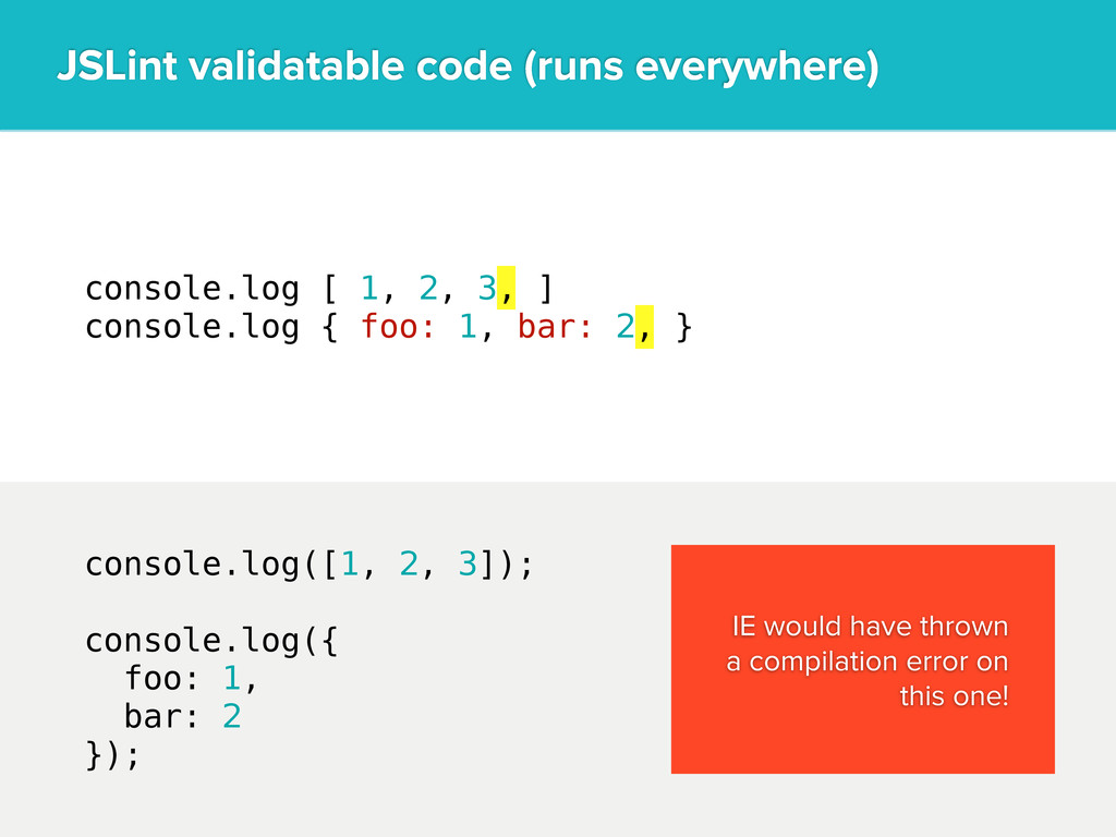 console.log [ 1, 2, 3, ] console.log { foo: 1, ...