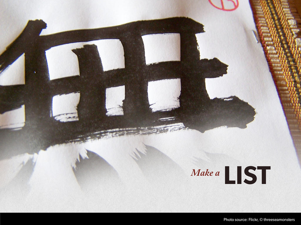 Make a LIST Photo source: Flickr, © threeseamon...