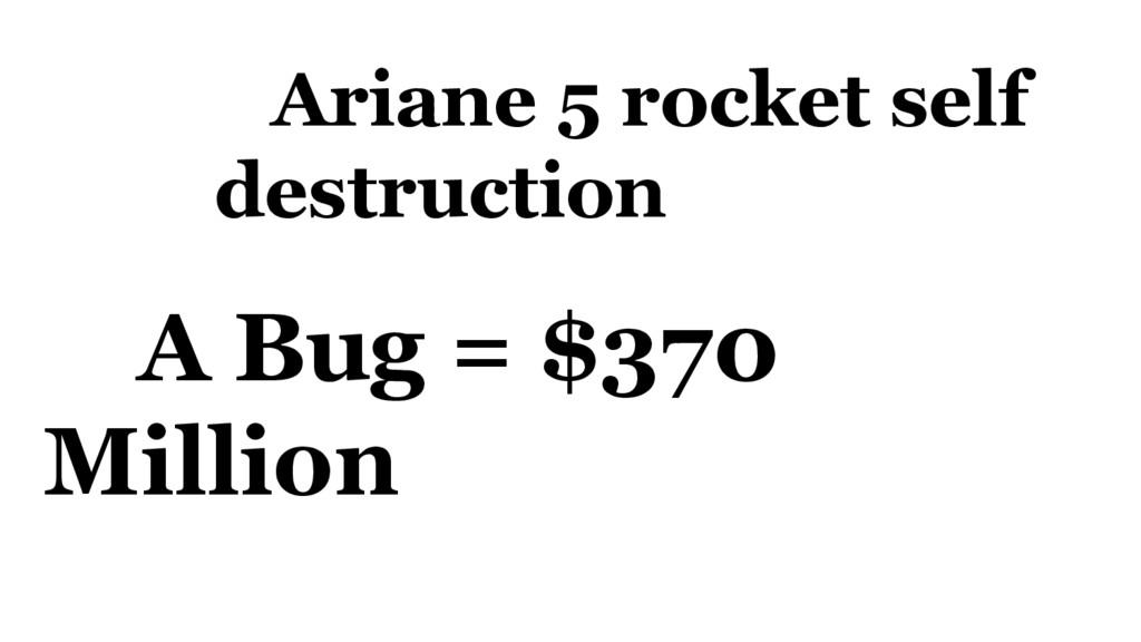 Ariane 5 rocket self destruction A Bug = $370 M...