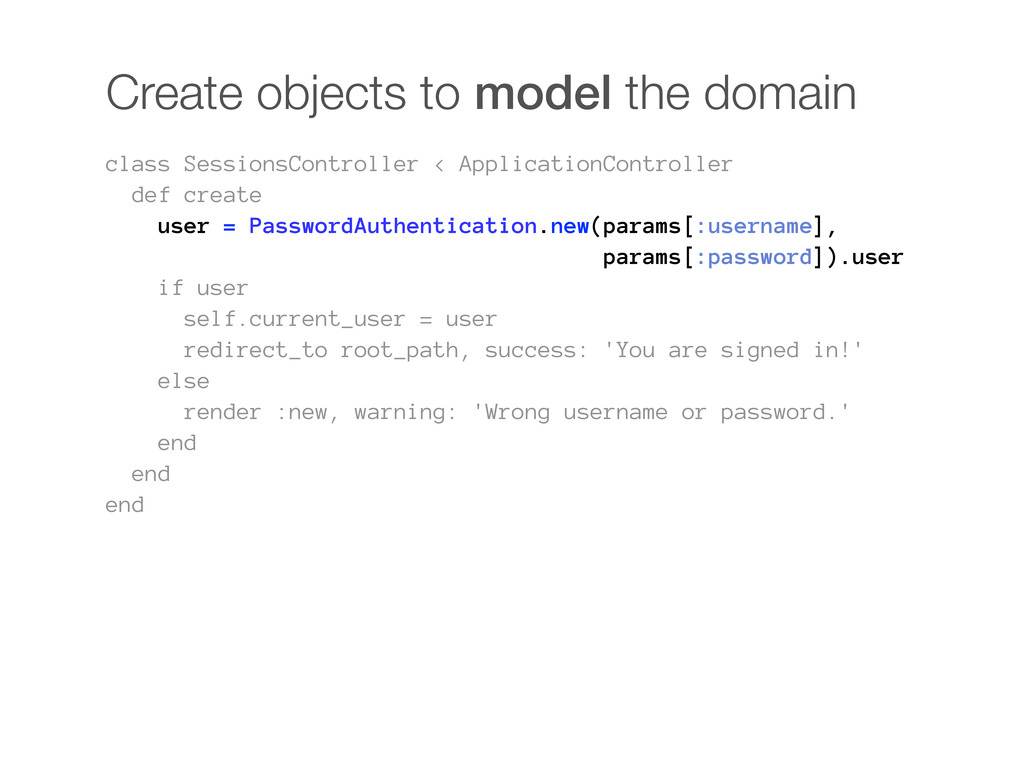 Create objects to model the domain class Sessio...