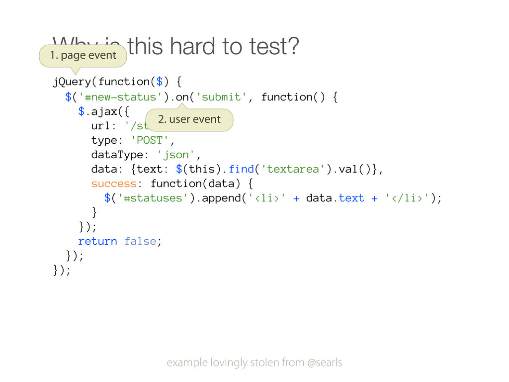 Why is this hard to test? jQuery(function($) { ...