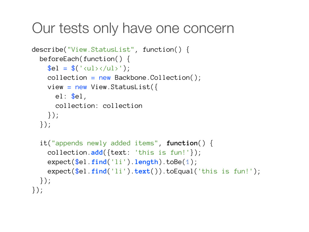 "Our tests only have one concern describe(""View...."