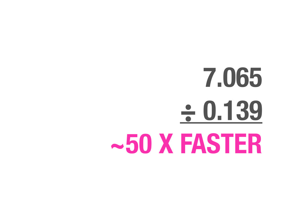 7.065 ÷ 0.139 ~50 X FASTER