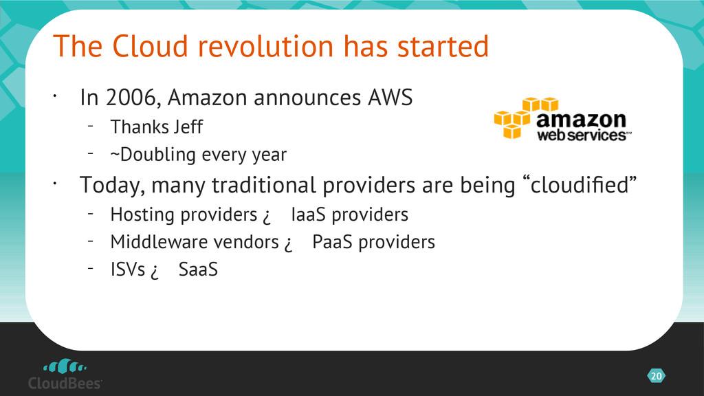 20 • In 2006, Amazon announces AWS – Thanks Jef...