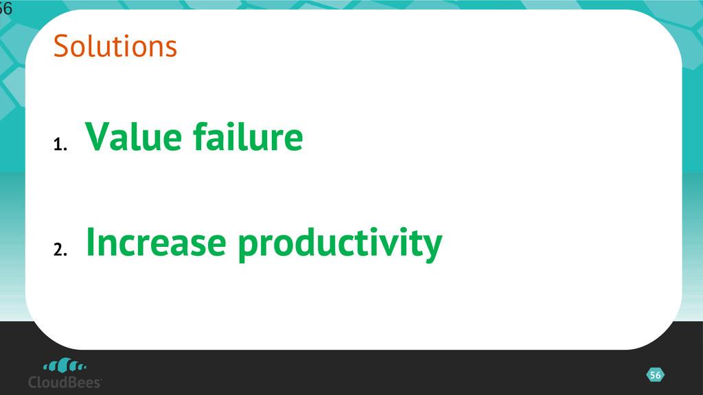 56 1. Value failure 2. Increase productivity So...