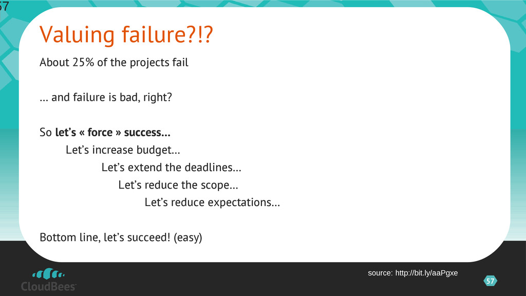 57 About 25% of the projects fail … and failure...