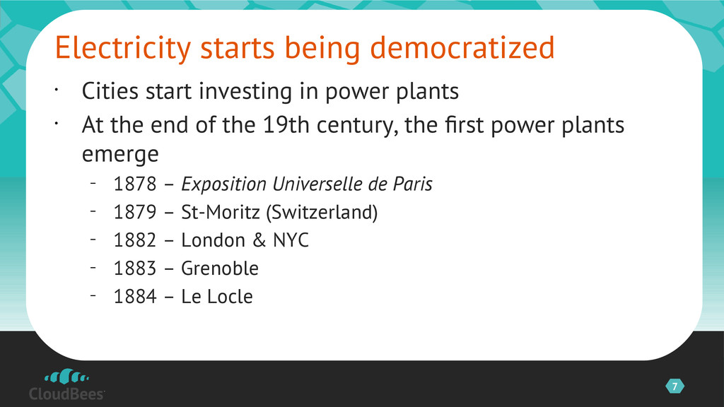 7 • Cities start investing in power plants • At...
