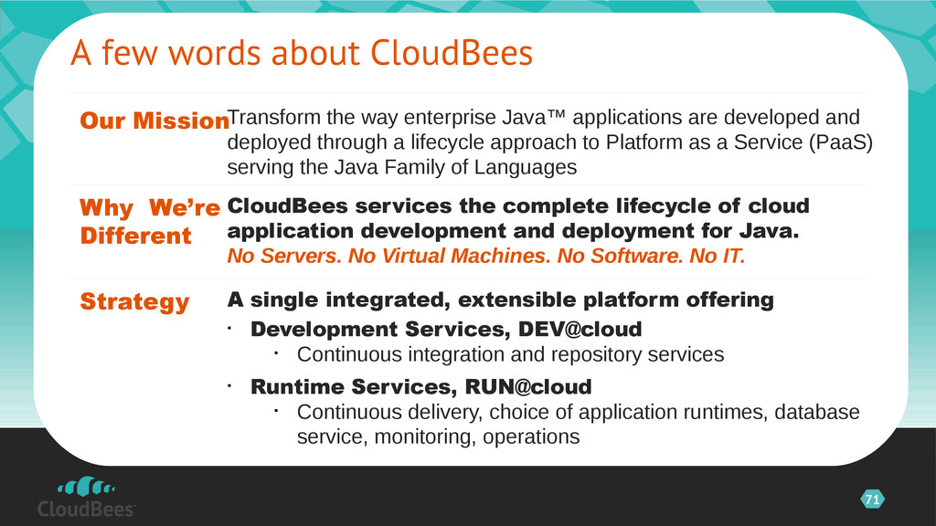 71 A few words about CloudBees Our Mission Stra...