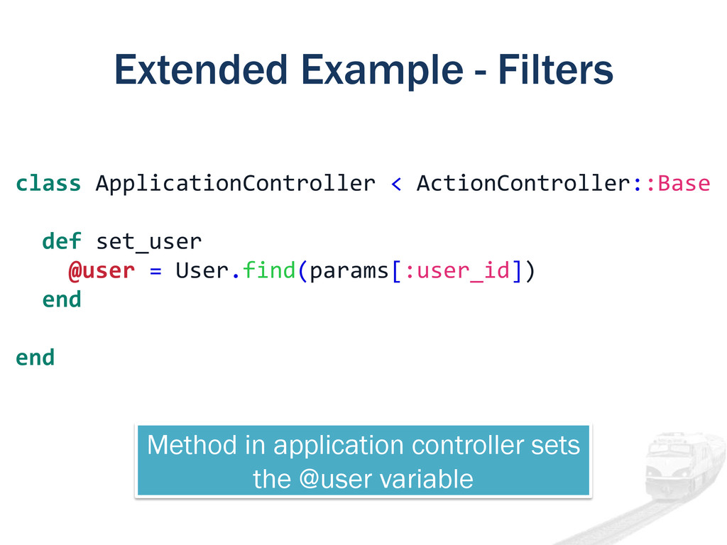 Extended Example - Filters class ApplicationCon...