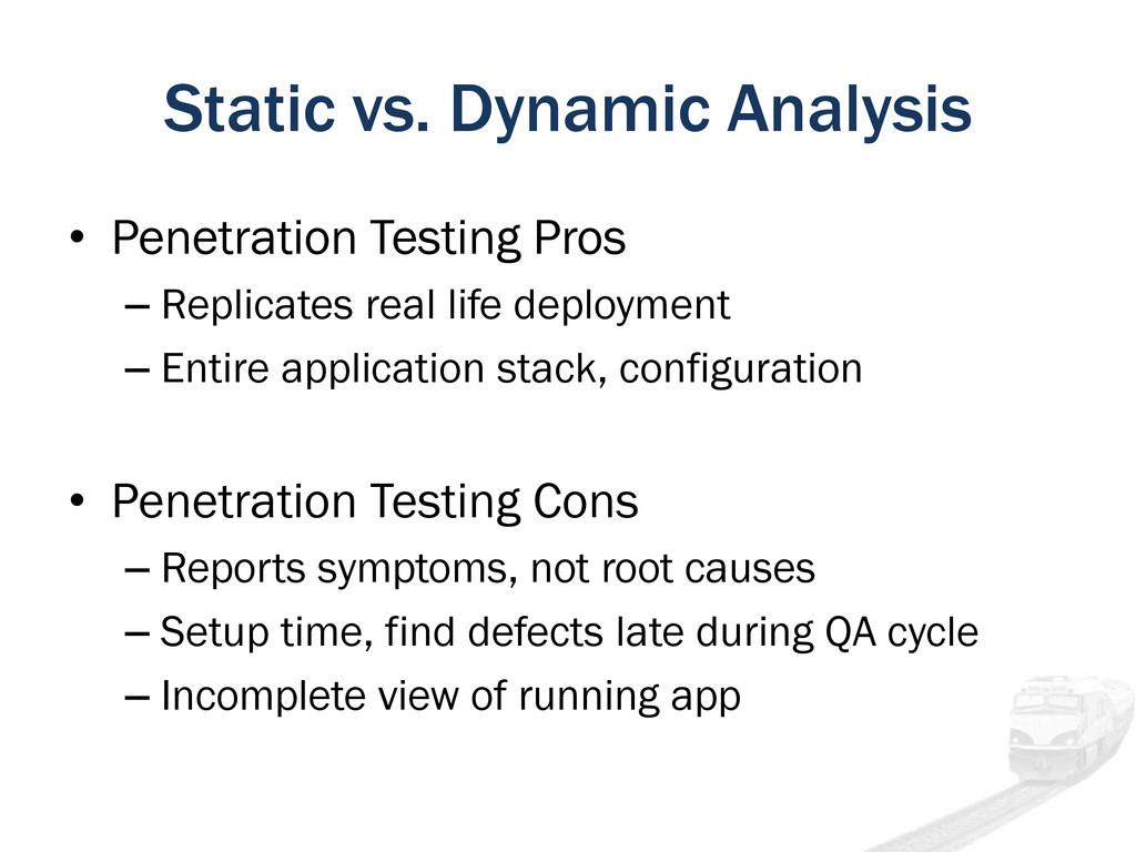 Static vs. Dynamic Analysis • Penetration Testi...