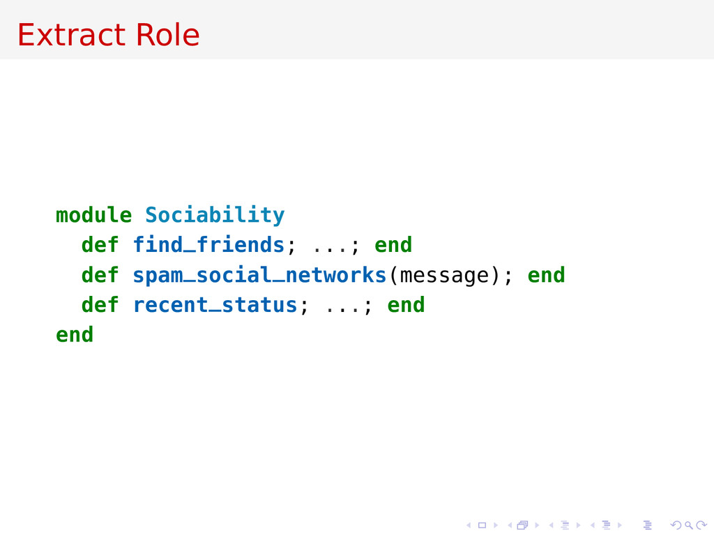 Extract Role module Sociability def find_friend...