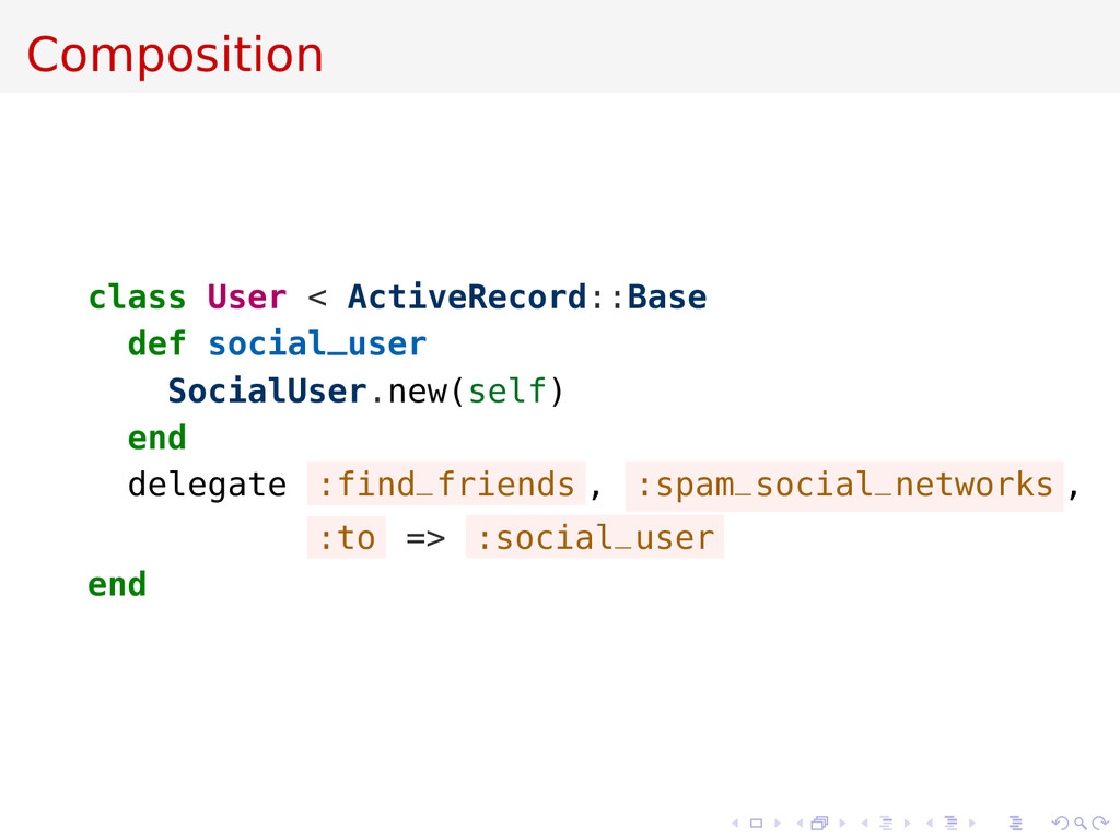 Composition class User < ActiveRecord::Base def...