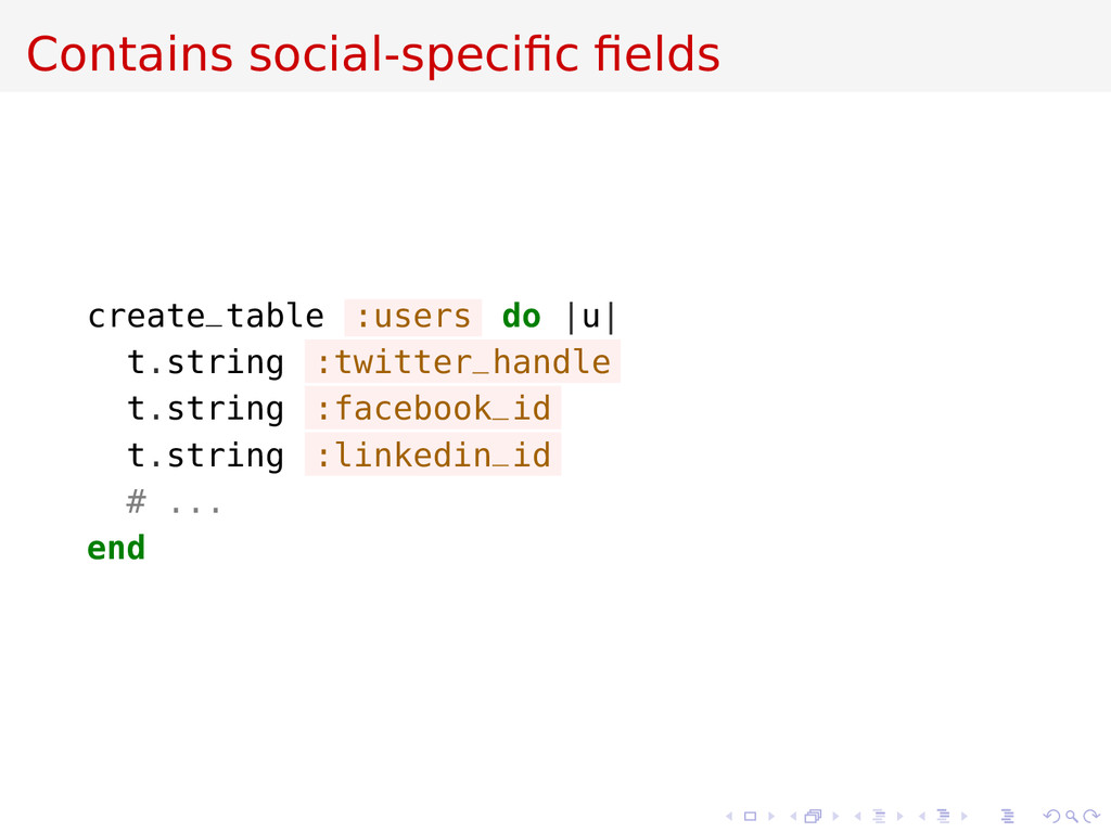 Contains social-specific fields create_table :use...