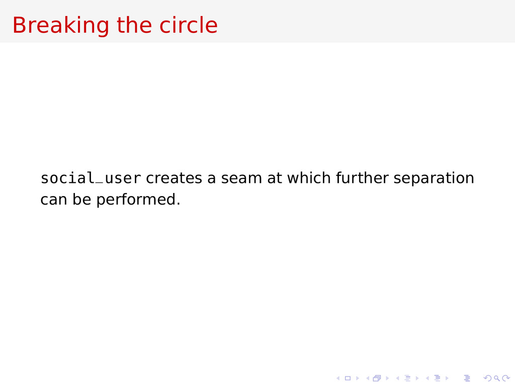 Breaking the circle social_user creates a seam ...