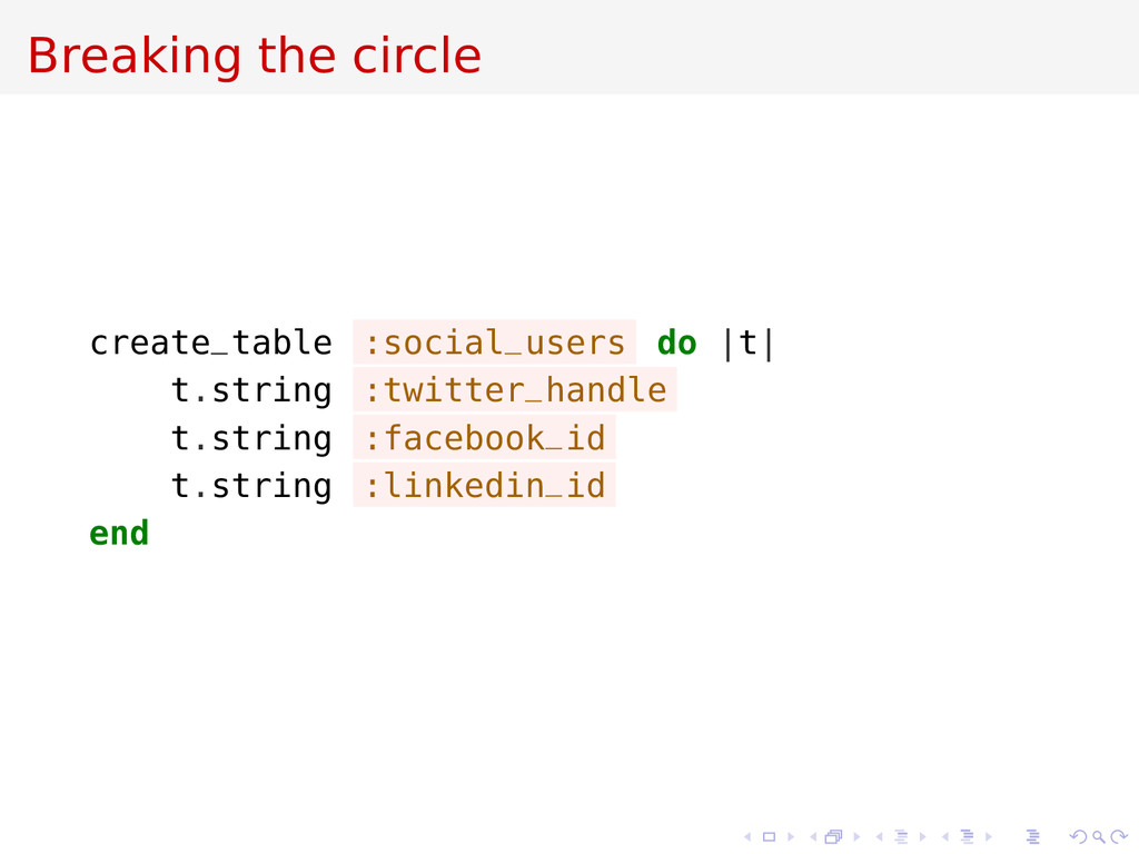 Breaking the circle create_table :social_users ...