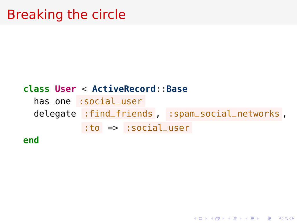 Breaking the circle class User < ActiveRecord::...