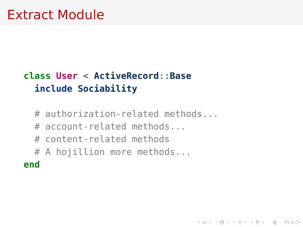 Extract Module class User < ActiveRecord::Base ...