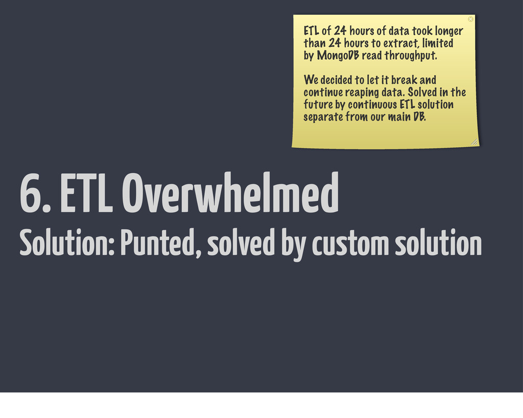 6. ETL Overwhelmed ETL of 24 hours of data took...