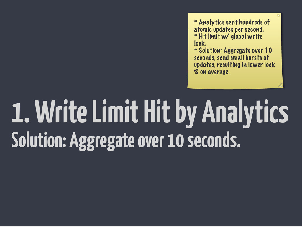 1. Write Limit Hit by Analytics * Analytics sen...