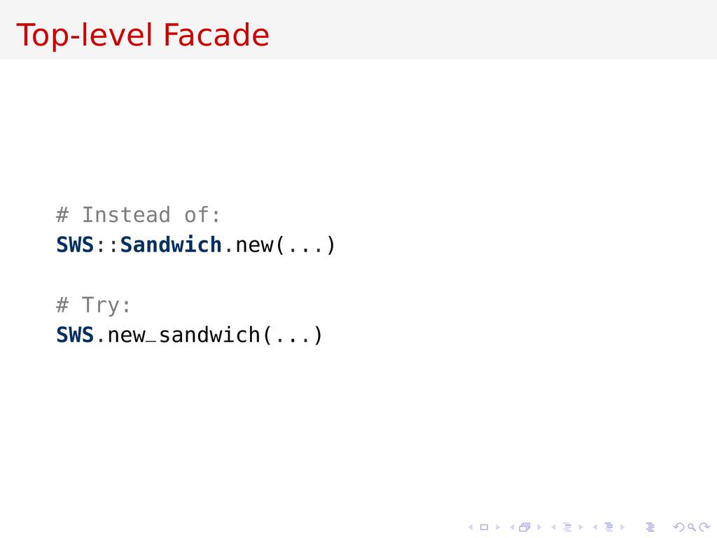 Top-level Facade # Instead of: SWS::Sandwich.ne...