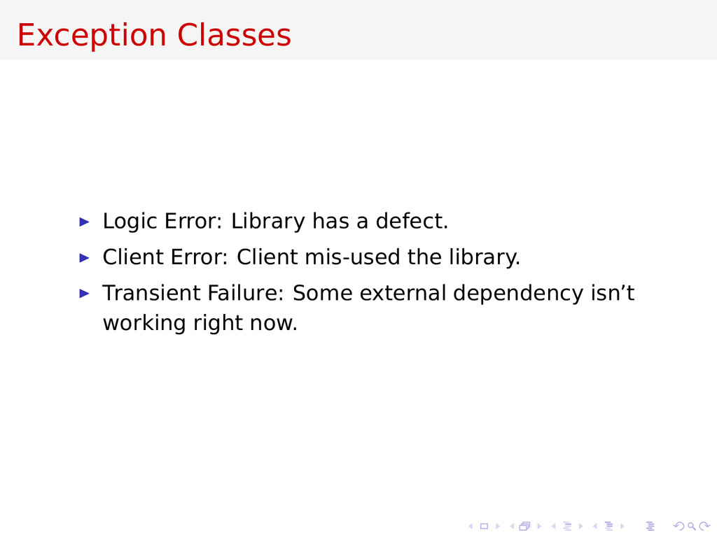 Exception Classes Logic Error: Library has a de...
