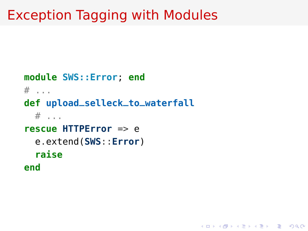 Exception Tagging with Modules module SWS::Erro...