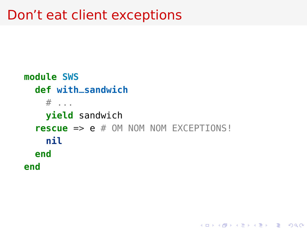 Don't eat client exceptions module SWS def with...