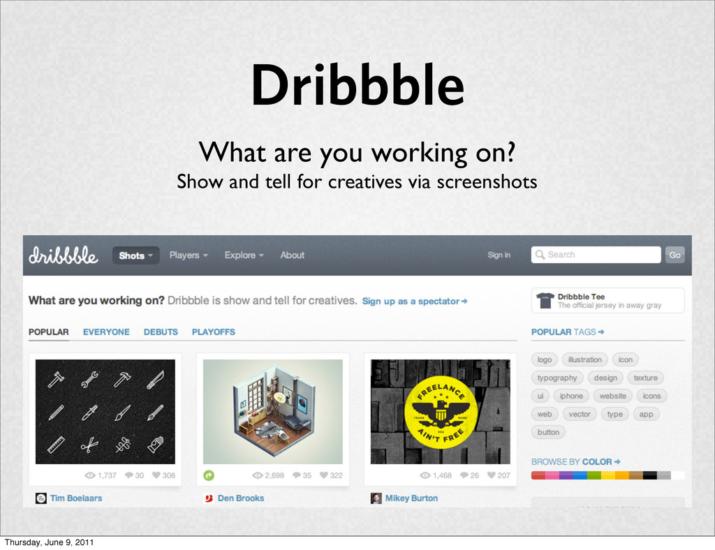 Dribbble What are you working on? Show and tell...
