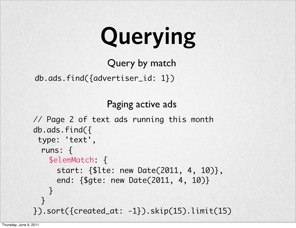Querying Query by match db.ads.find({advertiser...