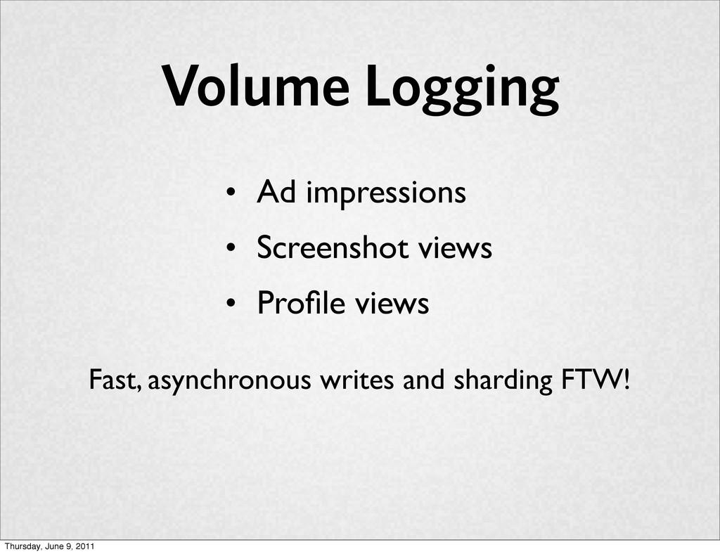 Volume Logging • Ad impressions • Screenshot vi...
