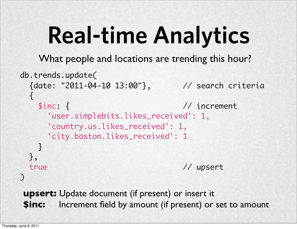 """Real-time Analytics db.trends.update( {date: """"2..."""