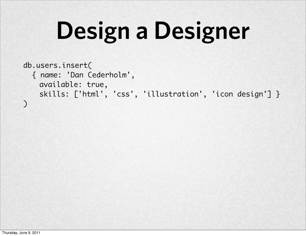 db.users.insert( { name: 'Dan Cederholm', avail...