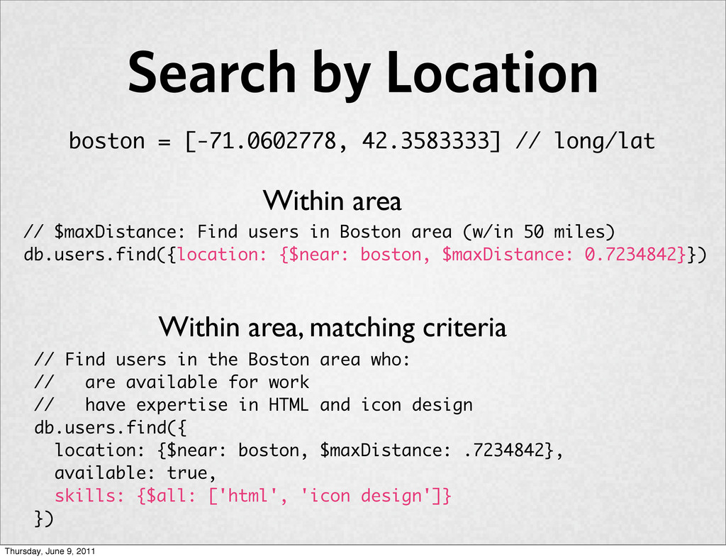 Search by Location // Find users in the Boston ...
