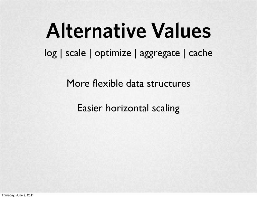 Alternative Values More flexible data structures...