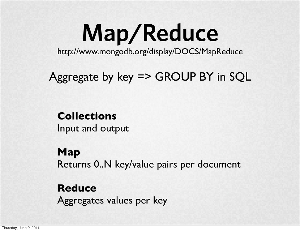 Collections Input and output Map Returns 0..N k...
