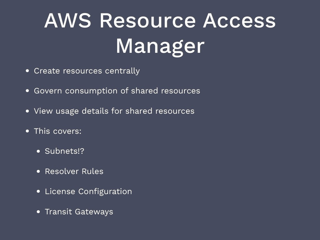 AWS Resource Access Manager • Create resources ...