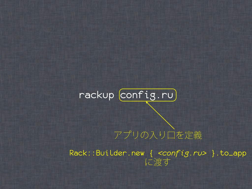 rackup config.ru ΞϓϦͷೖΓޱΛఆٛ Rack::Builder.new {...