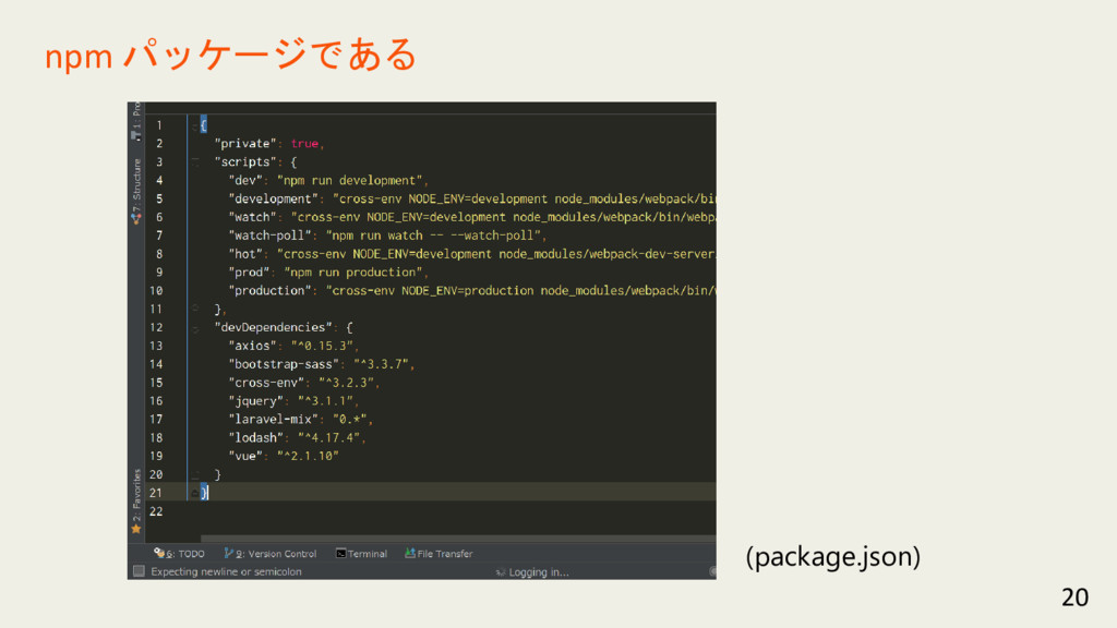 20 npm パッケージである (package.json)