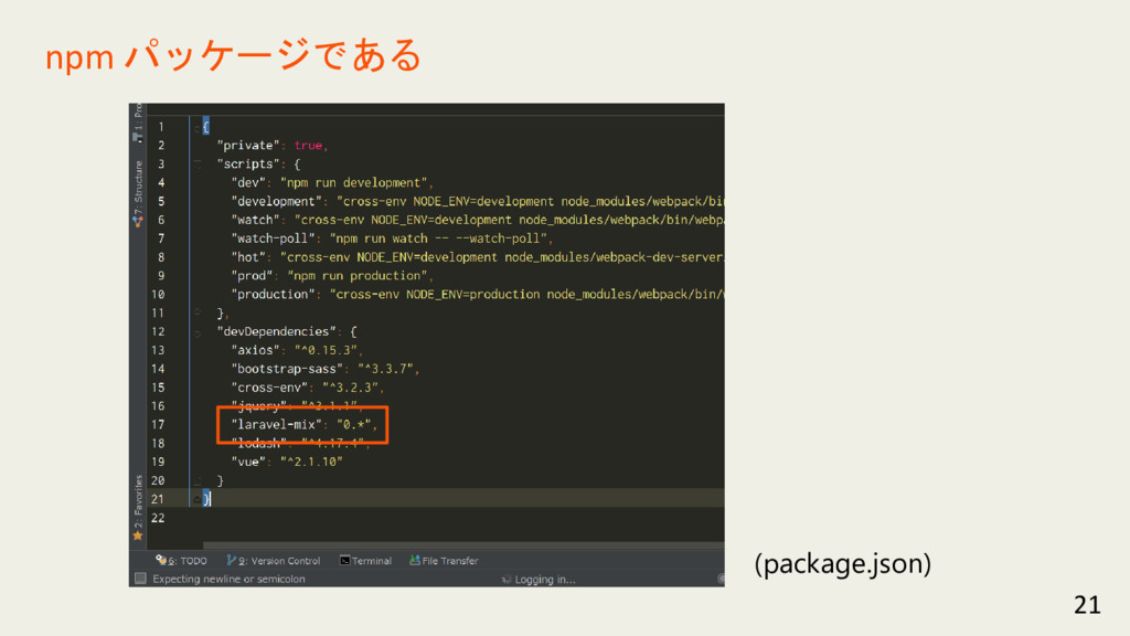 21 npm パッケージである (package.json)