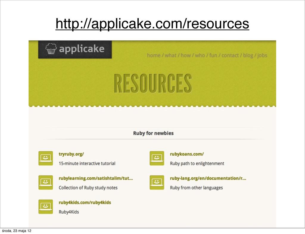 http://applicake.com/resources środa, 23 maja 12