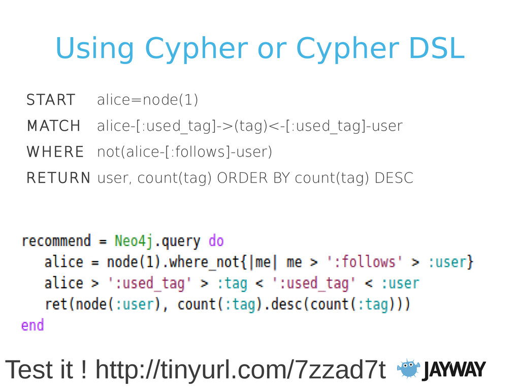 Using Cypher or Cypher DSL START alice=node(1) ...