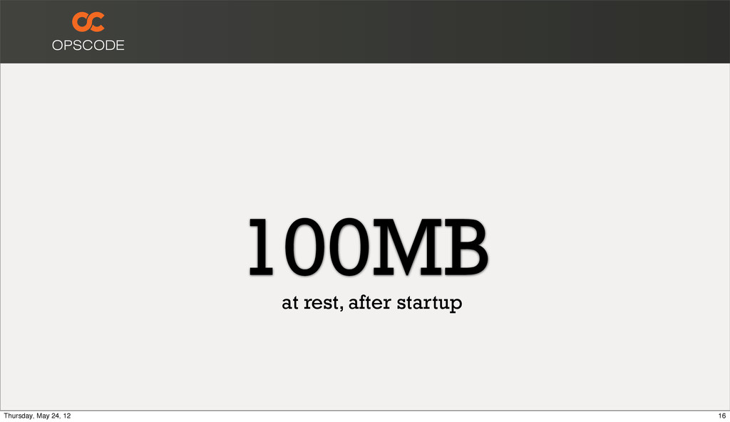 100MB at rest, after startup 16 Thursday, May 2...