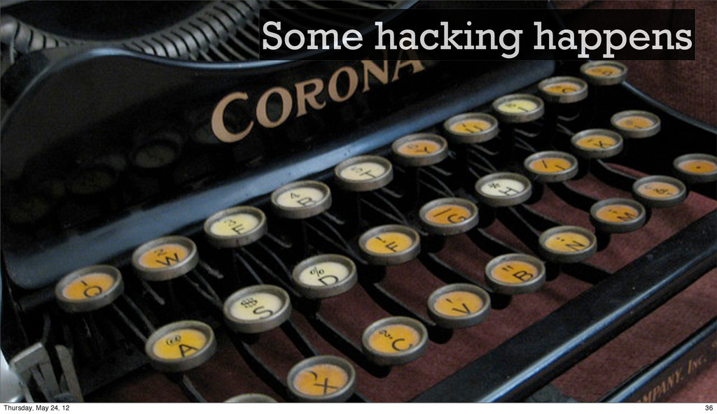 Some hacking happens 36 Thursday, May 24, 12