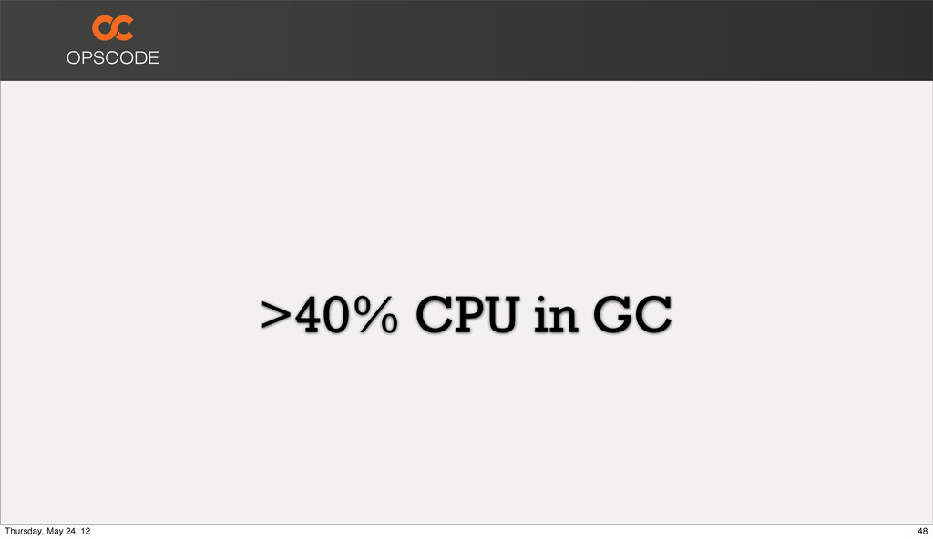 >40% CPU in GC 48 Thursday, May 24, 12
